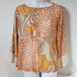 Isaac Mizrahi Gray Orange Floral Sheer Blouse 8
